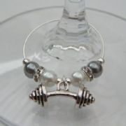 Barbell Weight Wine Glass Charm - Elegance Style